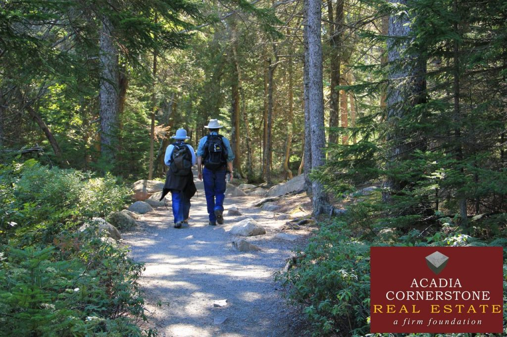 Acadia National Park - Hikers on Jordan Pond Trail